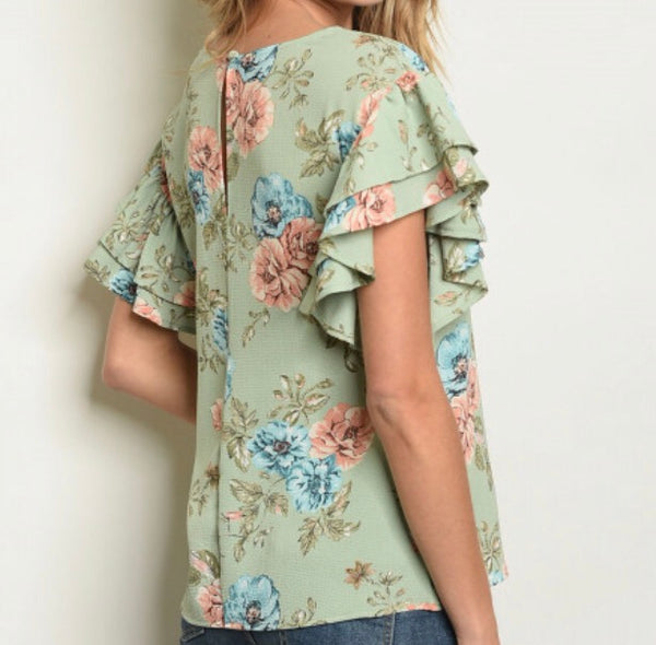 #424 Spearmint Ruffle Floral Top