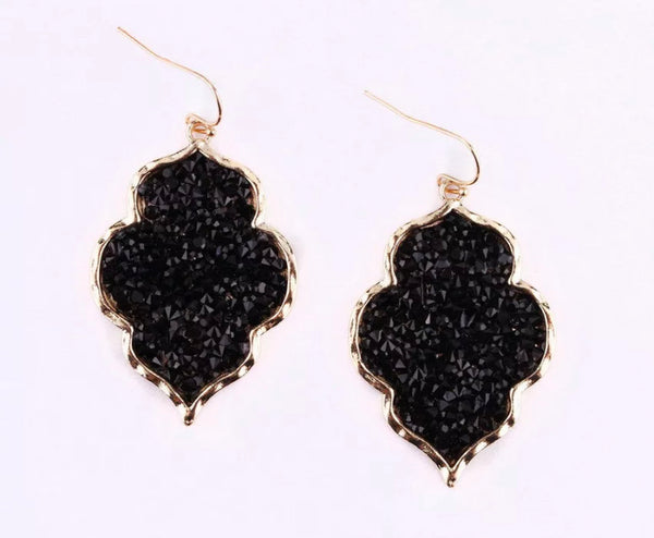 #820 All Things Sparkle Black Druzy Earrings