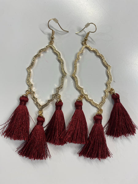 #2077 Burgundy Tassel Earrings