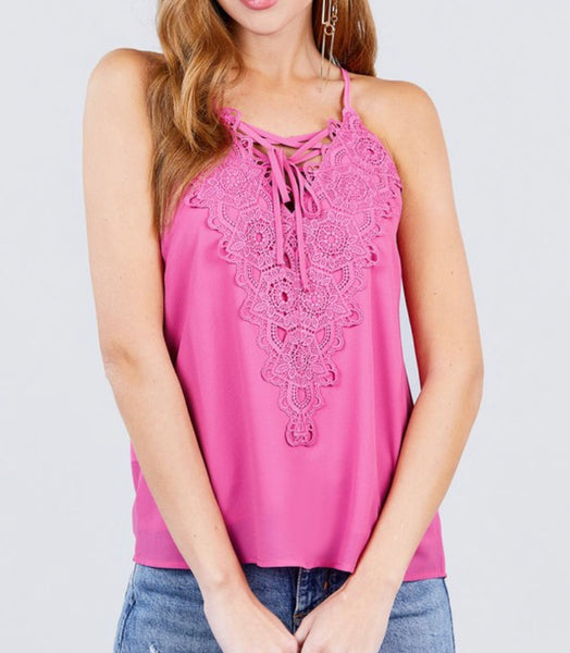 #1385 Pink Ladies Lace Strappy Top