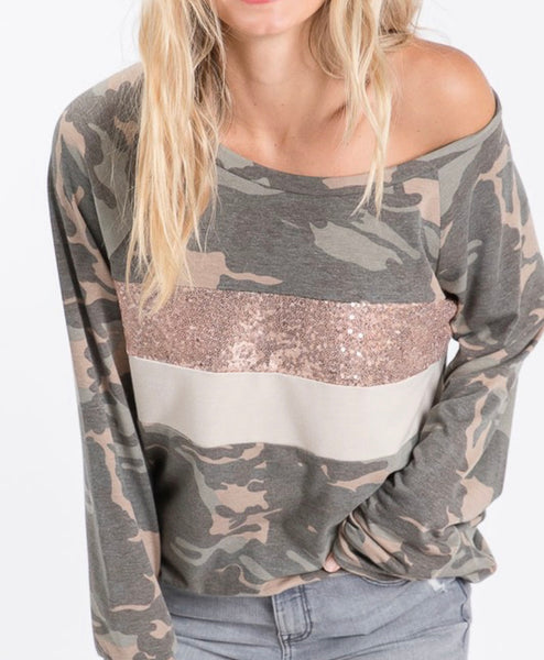 #781 Camo Rose Gold Top