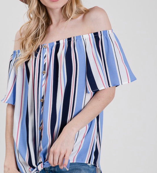 #1394 Off The Shoulder Blue Stripes Top