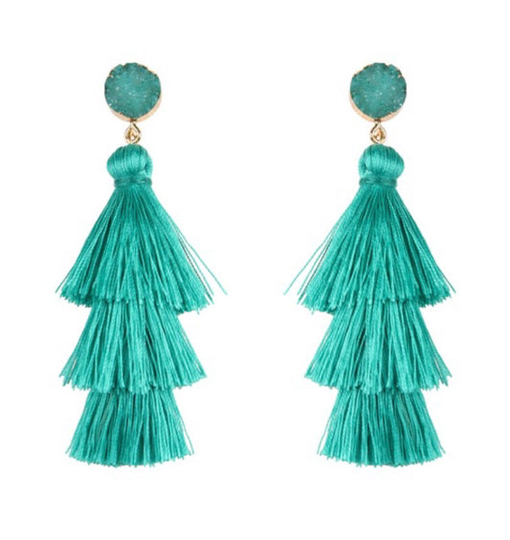 #1062 Mint Fringe Druzy Earrings