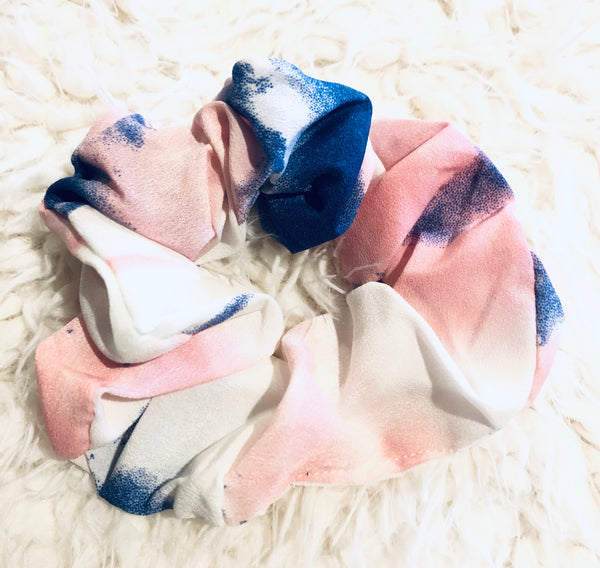 #1277 Pink & Blue Scrunchie