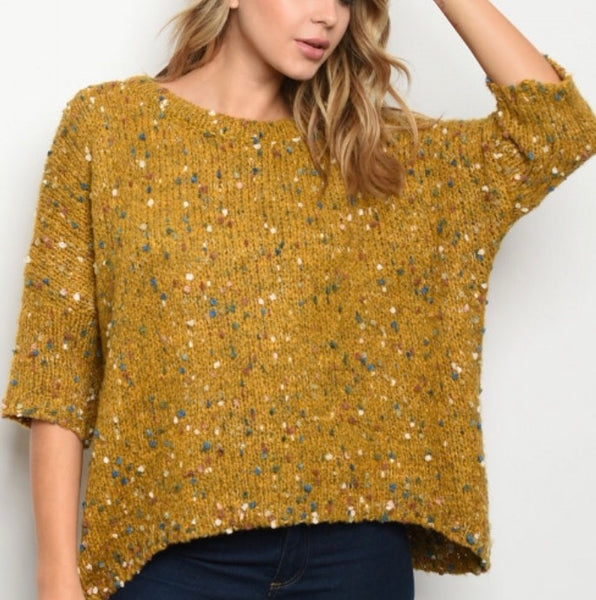 Mustard Sweater Multi Knit Color