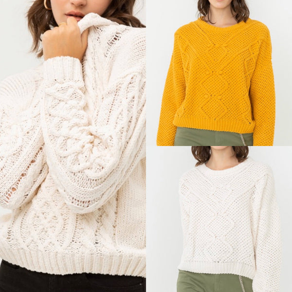 Assorted Sweater Cream or Mustard