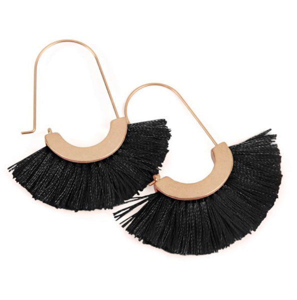 #755 Tassel Black Earrings