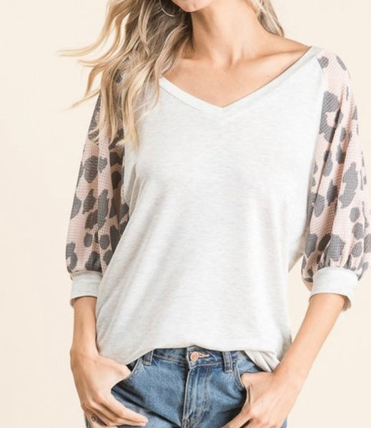#1049 Heather Leopard Blush Top
