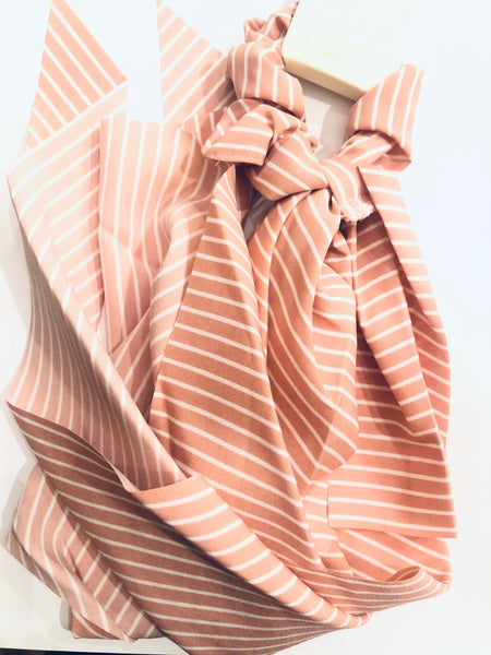 #960 Pink Stripe Scrunchie Hair Scarf