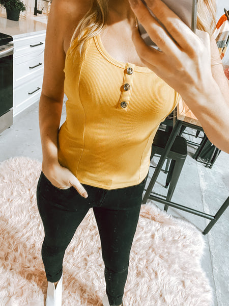 #2185 FINAL SALE - Ribbed Fitted Tank - Mustard