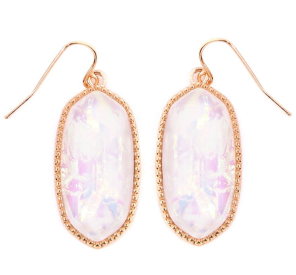 #1208 Opal Iridescent Drop Earrings