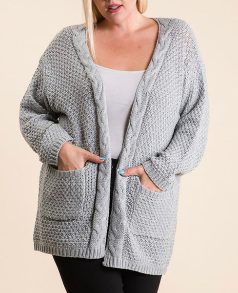 #761 Long Cable Knit Gray Cardigan