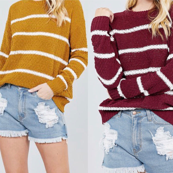 Stripe Gold, Burgundy, or White Sweater