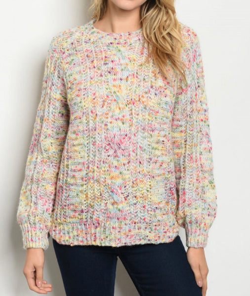 #792 Bright Confetti Cream Sweater