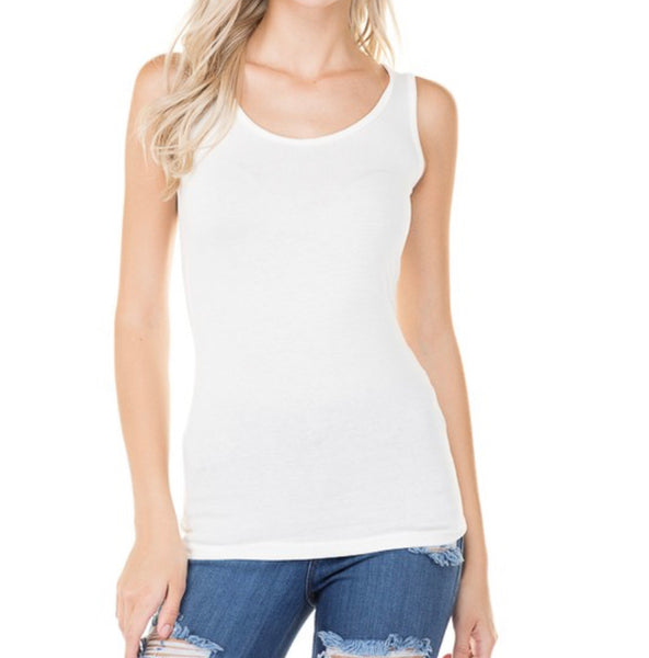 #1670 White Basic Cotton Tank