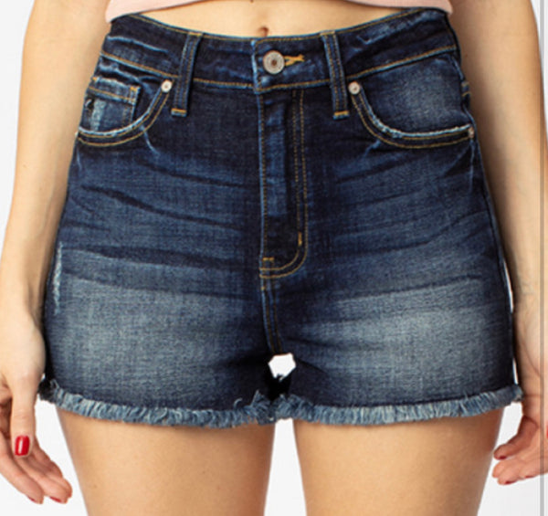 #1678 Kancan High Waist Dark Denim Frayed Shorts