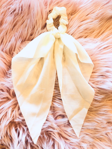 #1377 Ivory Hair Scarf Scrunchie