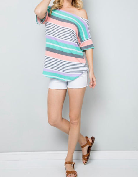 #1266 Bright Spring Stripe Top
