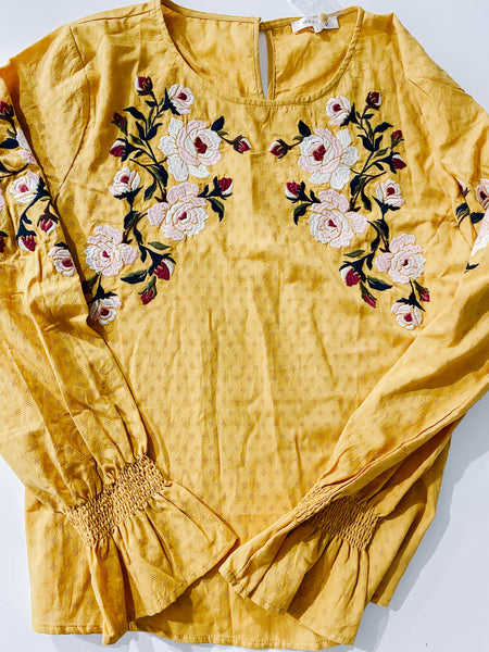 #2001 FINAL SALE - Sunshine Embroidered Floral Top