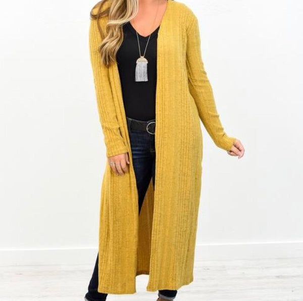 Mustard Long Ribbed Duster