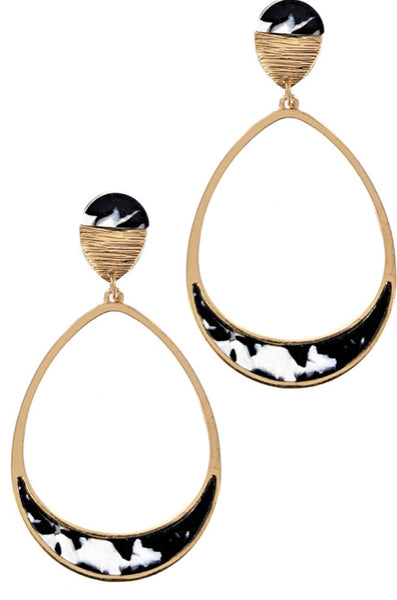 #788 Black Gold Resin Hoops
