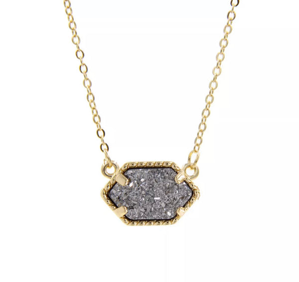 #749 Druzy Necklace - GRAY