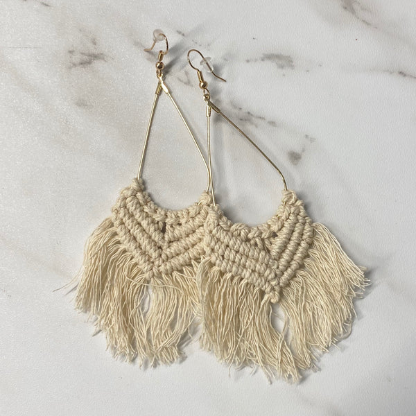 #1619 Macramé Taupe Earrings