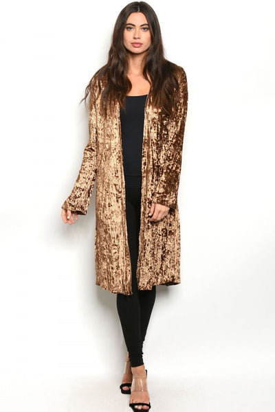 Crushed Velvet Mocha Cardigan