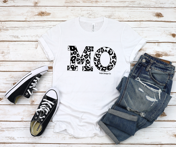 #1607 MO Leopard Graphic Tee - Preorder ships separately in 2 weeks.