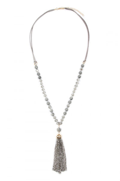#403 Gray Beaded Long Tassel Necklace