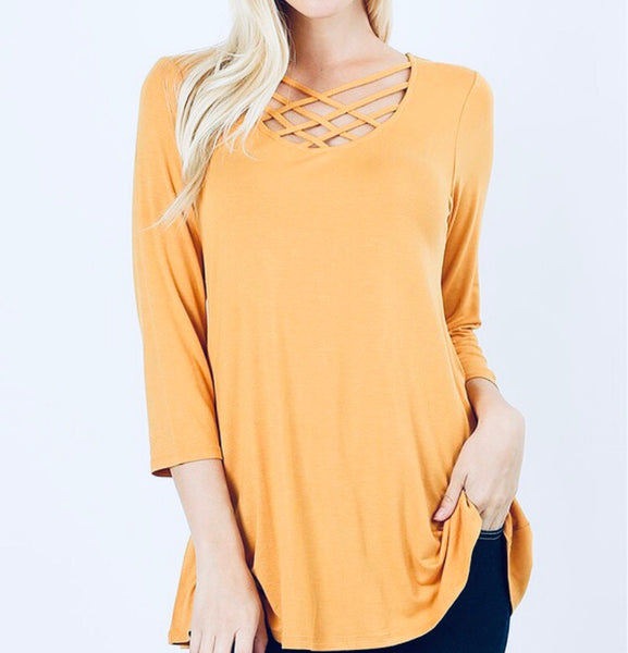 #625 Golden Yellow Criss Cross Top