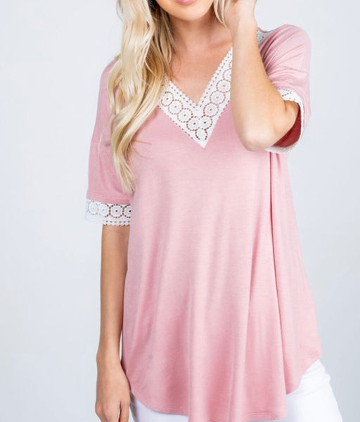 #1068 Pink White Lace Top