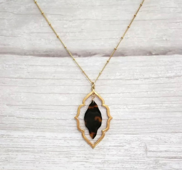 #822 Double Tortoise Gold Long Necklace