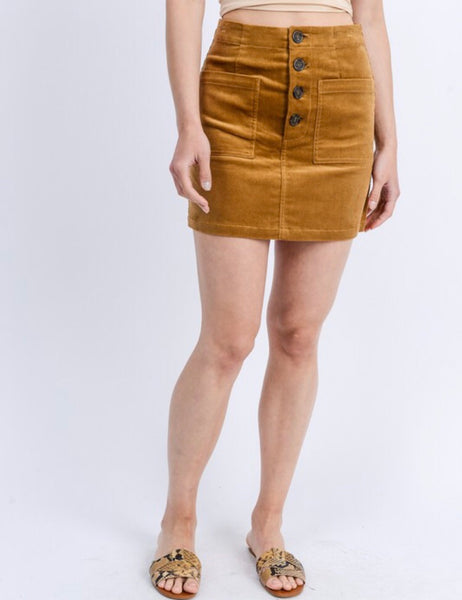 Corduroy Button Skirt Assorted