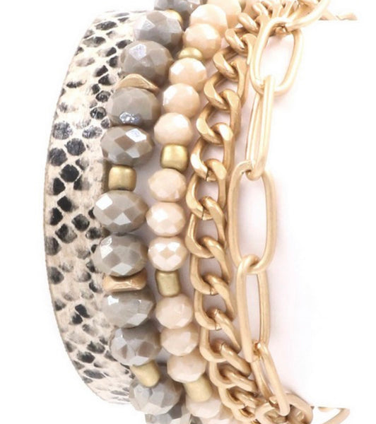 #1041 Mixed Media Gold & Snakeskin Bracelet Set