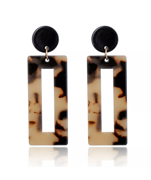#826 Geometric Leopard Earrings