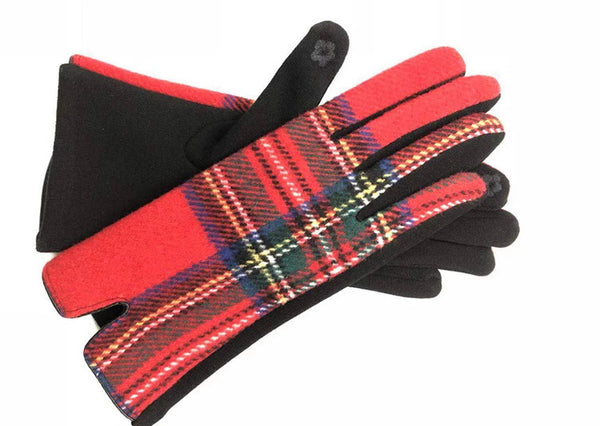 #827 Plaid Gloves - Red