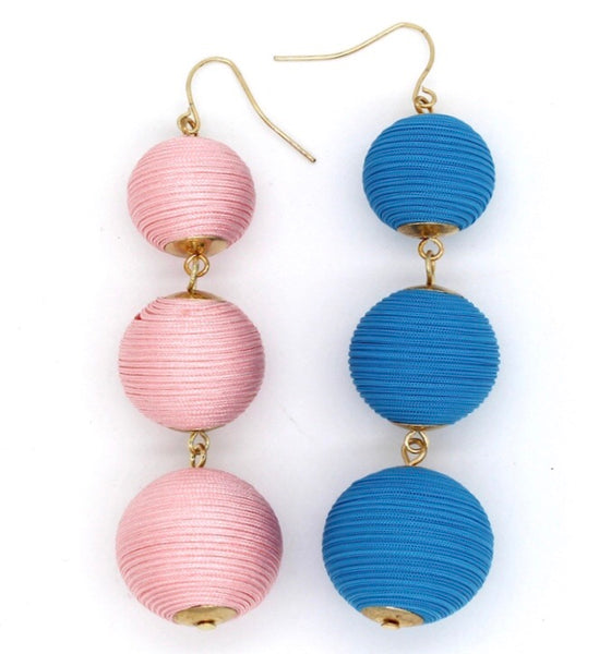#408 Pink or Blue Pom-Pom Earrings