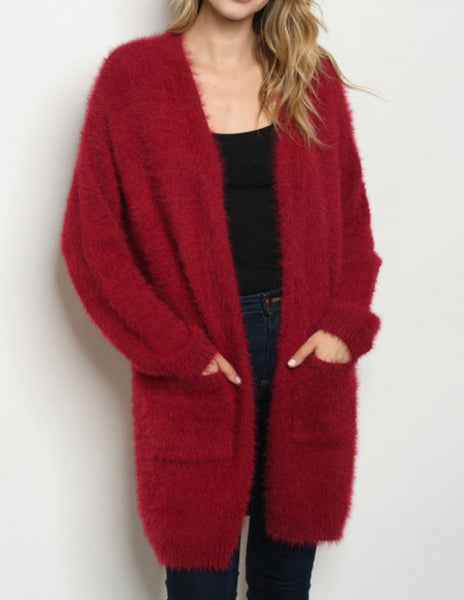 #816 Warm & Fuzzy Red Cardigan
