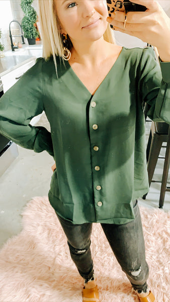 #2282 FINAL SALE - Deep Moss Green Sheer Sleeve Top
