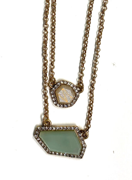 #1631 Mint Double Layer Pave Necklace