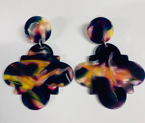 #1755 Tort Earrings Mauve/Purple