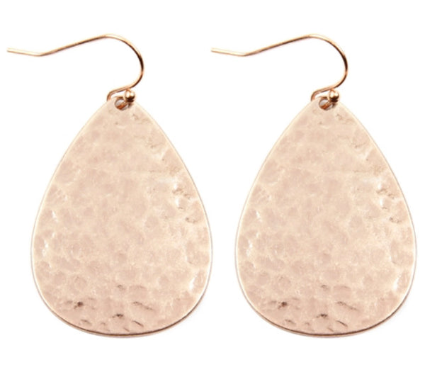 #1325 Rose Gold Hammered Earrings