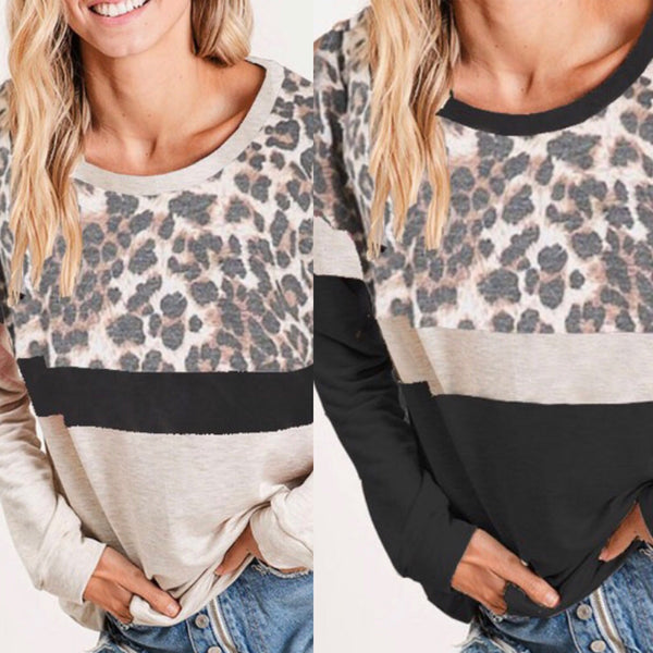 Leopard Stripe Top Charcoal Or Ivory