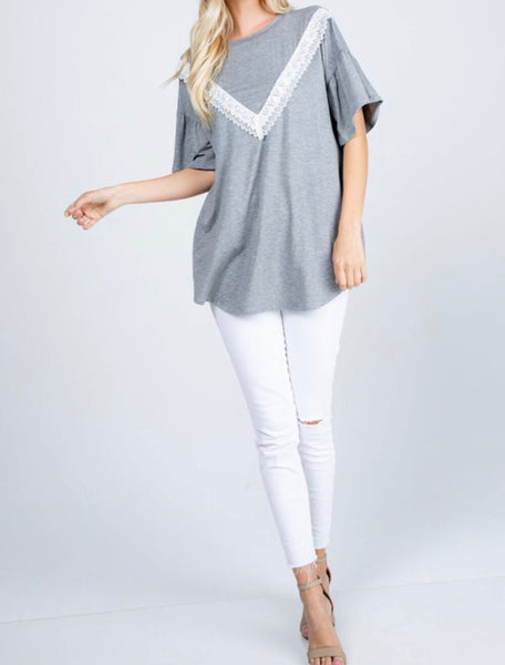 #1055 Gray & White Lace Top