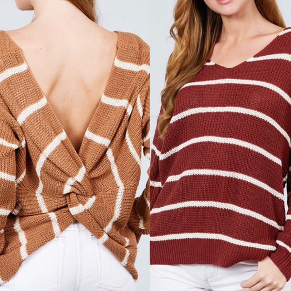 Stripe Twist Back Sweater