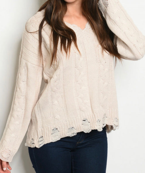 #786 Cream Cable Knit Distressed Sweater