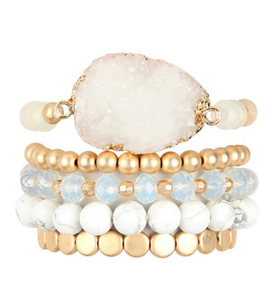 #970 Set of 5 Bracelets - White Marble