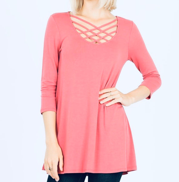 #1094 Criss Cross Mauve 3/4 Top
