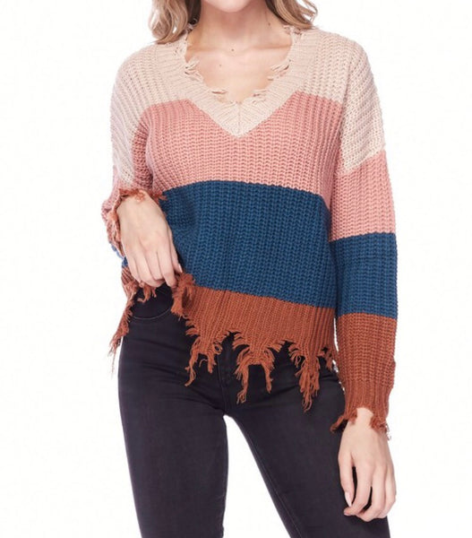 Fringe Autumn Stripe Sweater
